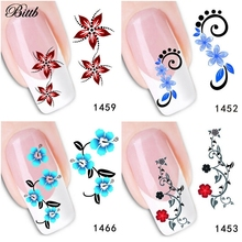 Bittb 1 Sheet Fingernail Sticker Bright Blue Cyan Red Flowers Nail Art Decoration Decals Makeup Tool Foil Manicure Nail Stickers(China)