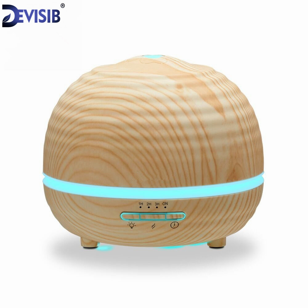DEVISIB Essential Oil Diffuser 300ml Aroma Wood Grain Cool Mist Humidifier with 7 LED Color lights 4 Timer Settings Mist<br>