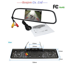 Pakring assistance Auto 5' TFT LCD 800*480 Mirror Monitor With Car infrared LED Europe License Plate Frame Rearview Camera