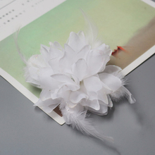 Wholesale bridal hair accessories feather flower with bead Corsage Fascinator fabric flowers flat back 50pcs/lot(China)