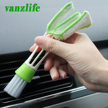 vanzlife double head vehicle air conditioner rair outlet shutter window cleaning brush instrument dust removing keyboard brush