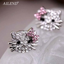 AILEND Lovely Silver Plated Small Cute Hello Kitty Earrings For Girls Charm Crystal Turkish Jewelry Brincos Children Earings(China)