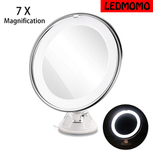 2017 NEW LED 7X Magnifying Cosmetic Makeup Mirror With Power Locking Suction Cup Bright Diffused Light 360 Degree Rotating