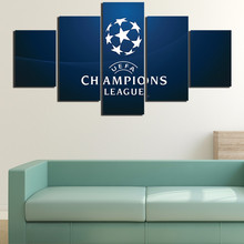 5 Pcs Canvas Art HD Printed Painting European Football Champions League Painting Print Oil Sports Poster Picture Custom Photos
