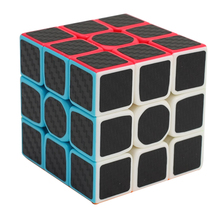 2017 3x3x3 Carbon Fiber Sticker Cube Speed Smooth Fidget Cube Magico Educational Brain Teaser Toys For Children Adult(China)