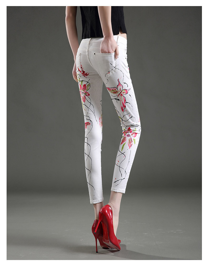 Summer white print jeans women jeggings denim elastic mid waist pants capris Female casual skinny cotton stretch Pencil trousers