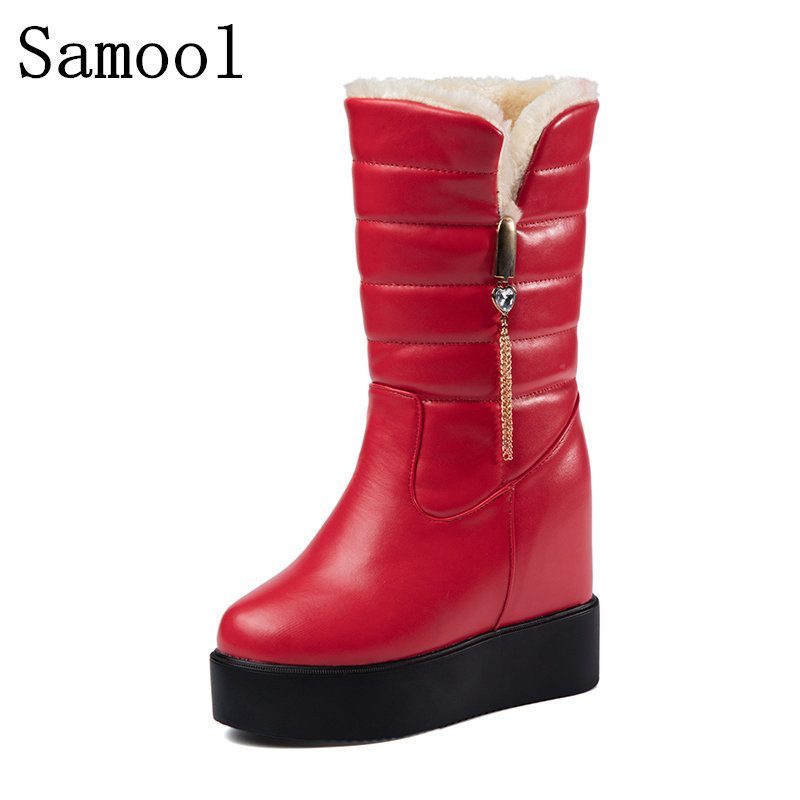 Women Snow Boots 2017 Samool Women Keep Warm With FUR Winter Boots Mother Shoes Anti Skid Waterproof Flexible Women Casual Boots<br>