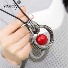 Red White Pearl Ball Pendant Long Necklaces New Circles Simulated Women Black Chain Maxi Necklace Fashion Jewelry Wholesale Gift(China)
