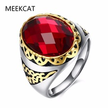 Vintage European Big Finger Ring Couple Oval Austrian Crystal Red Glass Women Men Wedding Party India Jewelry (MEEKCAT MR3286)(China)
