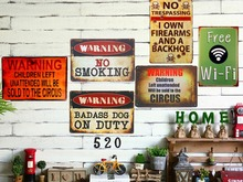 Vintage Tin signs Gun Warning Signs Dad's BBQ Free Wifi No Shooting Coffee Retro Plate Garage Pub Bar Home Wall Poster(China)