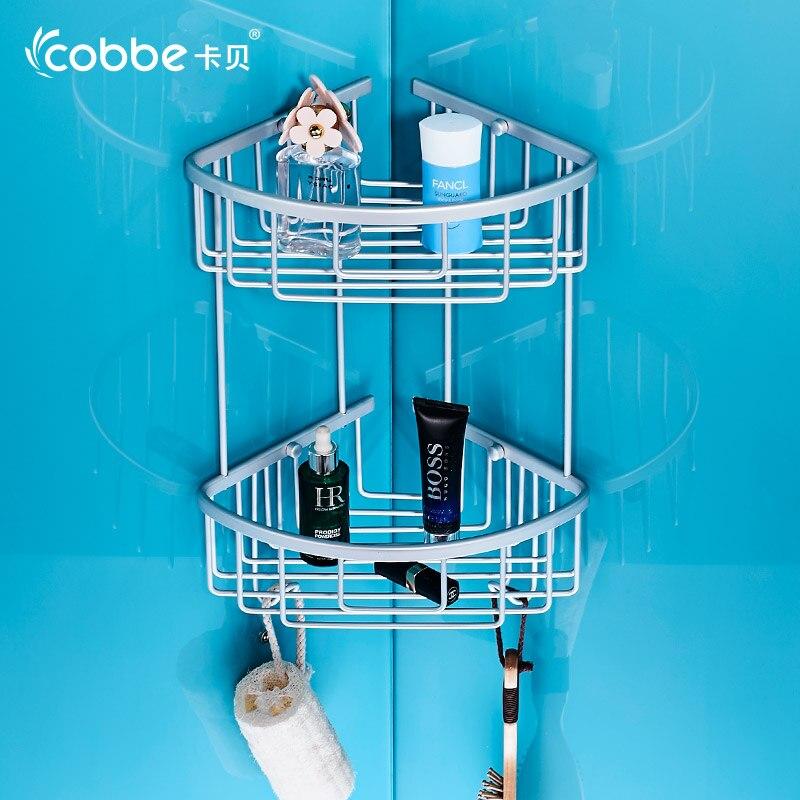 Hot Sale Bath Shelf Bathroom Accessories Aluminium Storage Organizer For Bathroom Products Shower Caddy With Hook Cobbe 3230-90<br>
