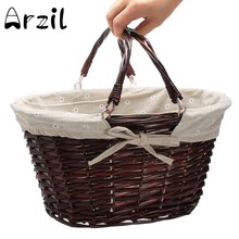 Storage Basket Willow Wicker with Linen Picnic Shopping Hamper with Handle Handmade Rattan Steamed Cassette Cover 35x29x19cm