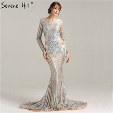 Luxury Grey nude  Sexy Sequined Long Sleeves Evening Dress Nude Backless Mermaid Evening Gowns 2017 Serene Hill Robe De Soiree
