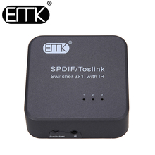 EMK SPDIF TOSLINK Digital Optical Audio Cable Switch 3x1 with IR Remote Controller Support 5.1