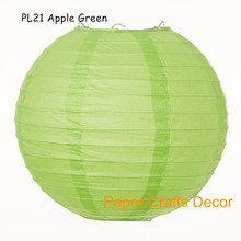14inch=35cm 8pcs/lot Apple Green Round Chinese Japanese Paper Lanterns Wedding Lampion Hanging Party Holiday Decoration(China)
