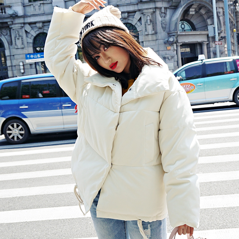 Korean Style 19 Winter Jacket Women Stand Collar Solid Black White Female Down Coat Loose Oversized Womens Short Parka 23