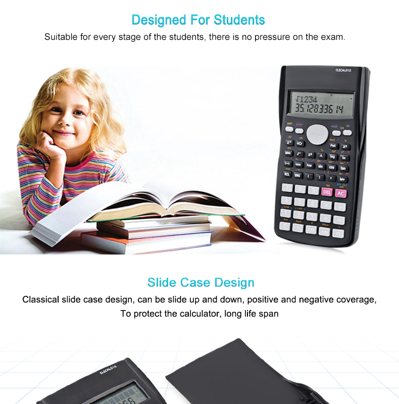 EASYIDEA Scientific Calculator 12 Digits Student Calculadora 240 Multi-function Calculator Cientifica 2 Line LCD Display 4