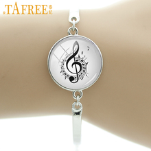 TAFREE Brand Vintage musical note bracelet charm fancy music heart musician jewelry retro Christmas snowflake women gifts T823(China)