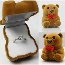 Fatpig Lovely Bear Jewelry Ring Storage Boxes Wedding Jewelry Ring Necklace Display Gift