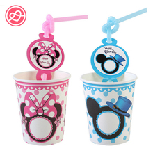 Pink Minnie Blue Mickey Mouse Party Disposable Tableware Sets(Straws+Paper Cups) Children Happy Birthday Party Decor Supplies