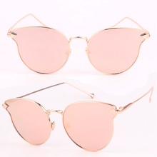 Buy Hot Cat Eye Sunglasses Women Brand Designer Fashion Twin-Beams Rose Gold Mirror Cateye Sun Glasses Female UV400 gafas de sol for $3.54 in AliExpress store