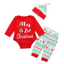 3PCS Xmas 1st Christmas Baby Girls Boys Romper Clothes Sets Long Sleeve Bodysuit + Long Pants + Hat Children Outfits Set