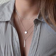 2016 Women's Fashion Jewelry Colar 1pc European Simple Gold Silver Plated Multi Layers Bar Coin Necklace Clavicle  Chains Charm