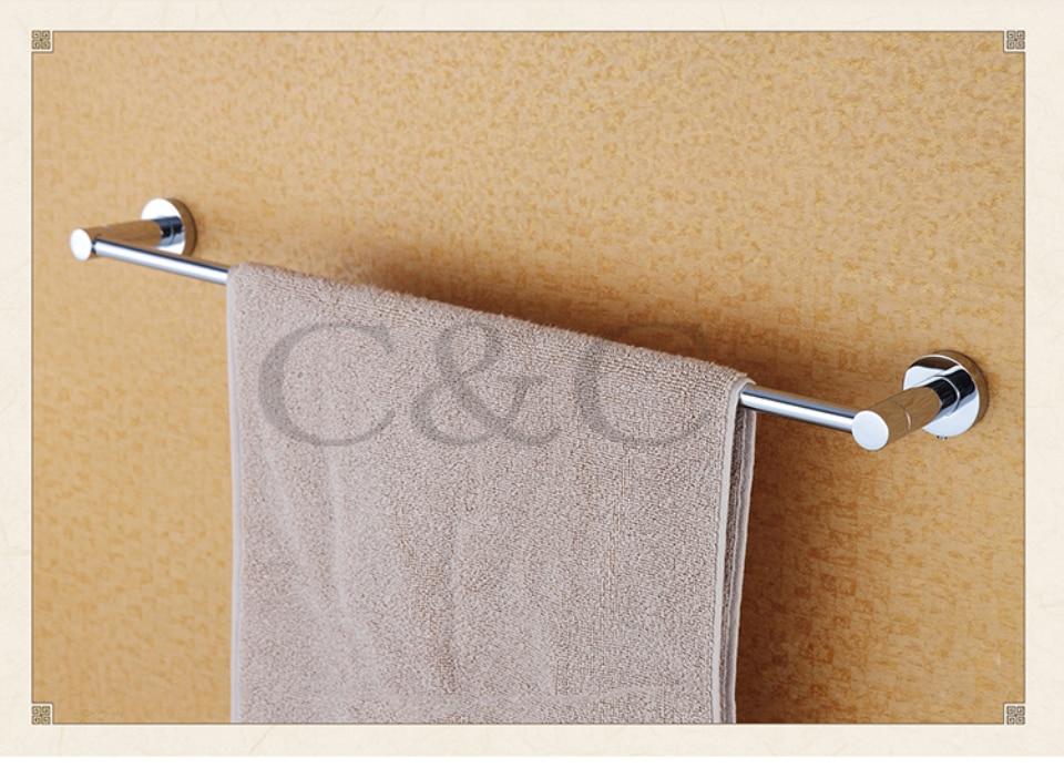 100% Quality Assurance Towel Rail Noble And Elegant Solid Brass Chrome Plating Single Bathroom Towel Bar 1901<br>
