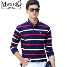 Mwxsd brand men's striped cotton polo shirts long sleeve high quality Men soft polo shirt male casual polo shirt tenis polos(China)