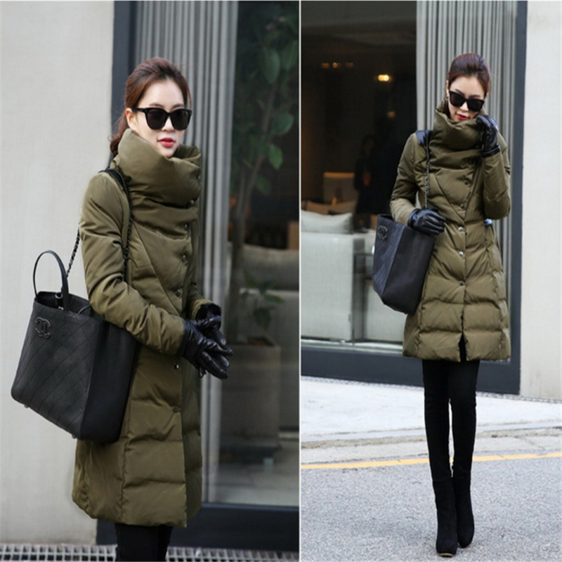 Snow wear Wadded Jacket Female 2017  Winter Jacket Women Slim Long Cotton-Padded jacket Outerwear Winter Coat CC146Îäåæäà è àêñåññóàðû<br><br>