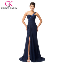 Grace Karin One Shoulder Evening Dress Beading Sexy Long Formal Evening Dress Navy Blue Chiffon Party Evening Gowns Split Front