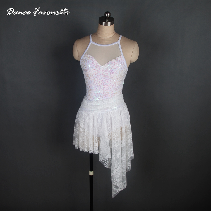 Dance Favourite White Sequin Lace Women Lyrical Dance Costume Ballet Halter Dance Costumes Stager & Performance Dance Costume