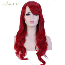 "SNOILITE Women Girl's 28"" 70cm Synthetic Long Curly Wave Full Head Wigs Heat Resistant Hair Wig Dark Red"