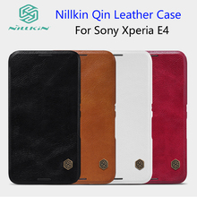 For Sony Xperia E4 case NILLKIN Qin Leather Case For Xperia E4 5.0 inch Phone Cases Cover Flip + Retailed Package(China)