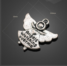 50 PCS/Lot 20mm*19.8mm jewelry handmade charm antique silver angel watching over time angel charms(China)