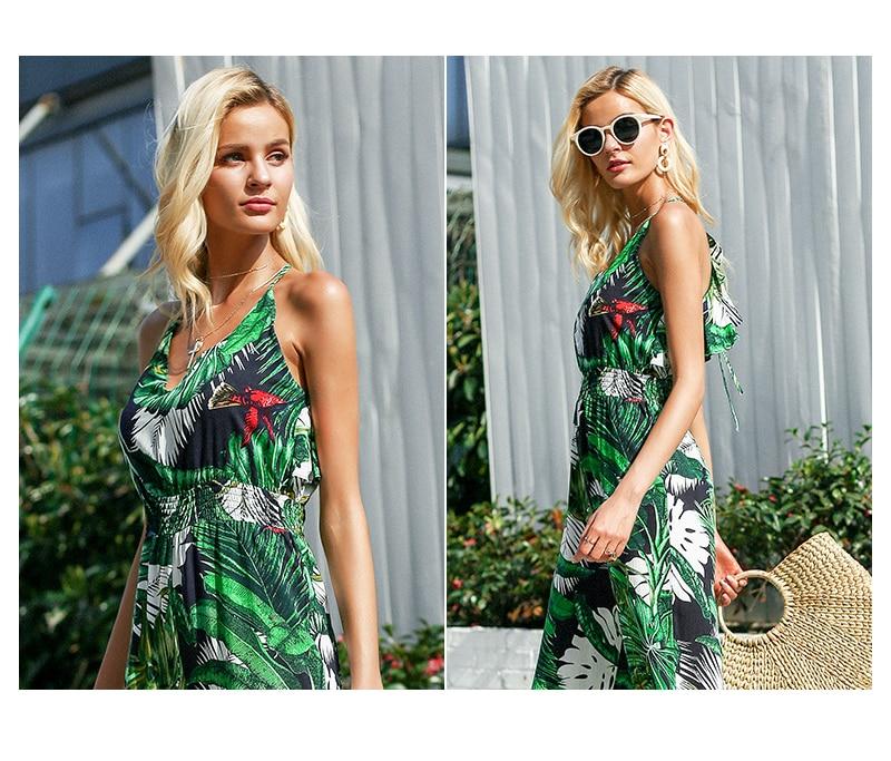 Boho Green Ruffle Leaf Print Sexy Jumpsuit (Us 10-16)