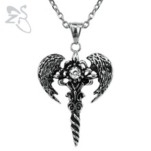 Punk Vintage Necklaces&Pendants Cross Wings Chains Sword Crystal Choker Stainless Steel Men For Best Friend Collar Jewelry Gifts(China)