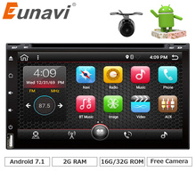 Eunavi Quad Core 2 din android 7.1 car dvd player universal 2din GPS Navigation audio stereo radio WIFI+bluetooth+camera