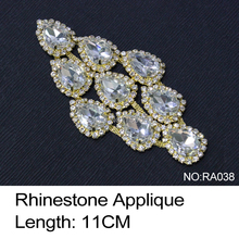 2017 New Arrival Real Ra038 Rhinestone Applique 3pcs/lot Crystal Clear And Gold Base Sew On Use For Wedding Dress Ornament