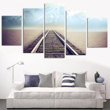 No Frame Oil Painting Railway Picture Canvas Painting Modern Wall Art Print Poster Rome Decor Wall Painting Home Decoration 5pcs(China)