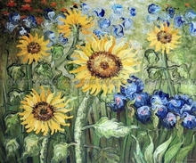 100% hand painted Golden Sunflower Blue Iris Garden Still Life Oil On Canvas Painting Art free shipping High quality