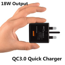 CE FCC QC3.0 Wall Charger Home Travel Qualcomm Quick Charge 3.0 Charging Adapter UK Plug 18W Universal For Cell Phones Tablet Pc(China)