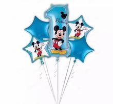 5pcs Happy Birthday Baby shower Boy Blue Mickey Balloons 1st Birthday Party Newborn Girl Boy Number 1 Ballon Globos ball Stars