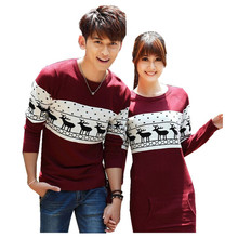 cute love couple sweater / dress costume 2017 autumn winter deer pattern long sleeve knit sweater great christmas valentine gift