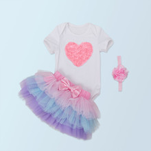 Brandwen Christmas Baby Girl 3pcs Clothing Set Infant Cotton Rompe R+ Skirt + Headband Costumes Party Birthday Vestidos Clothes