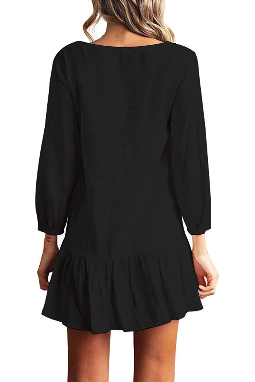 Women Autumn Dresses V Neck Cotton Linen Dress Femme 2018 Mini Casual Ruffle Long Sleeve T Shirt Dress Women Linen Dress 2