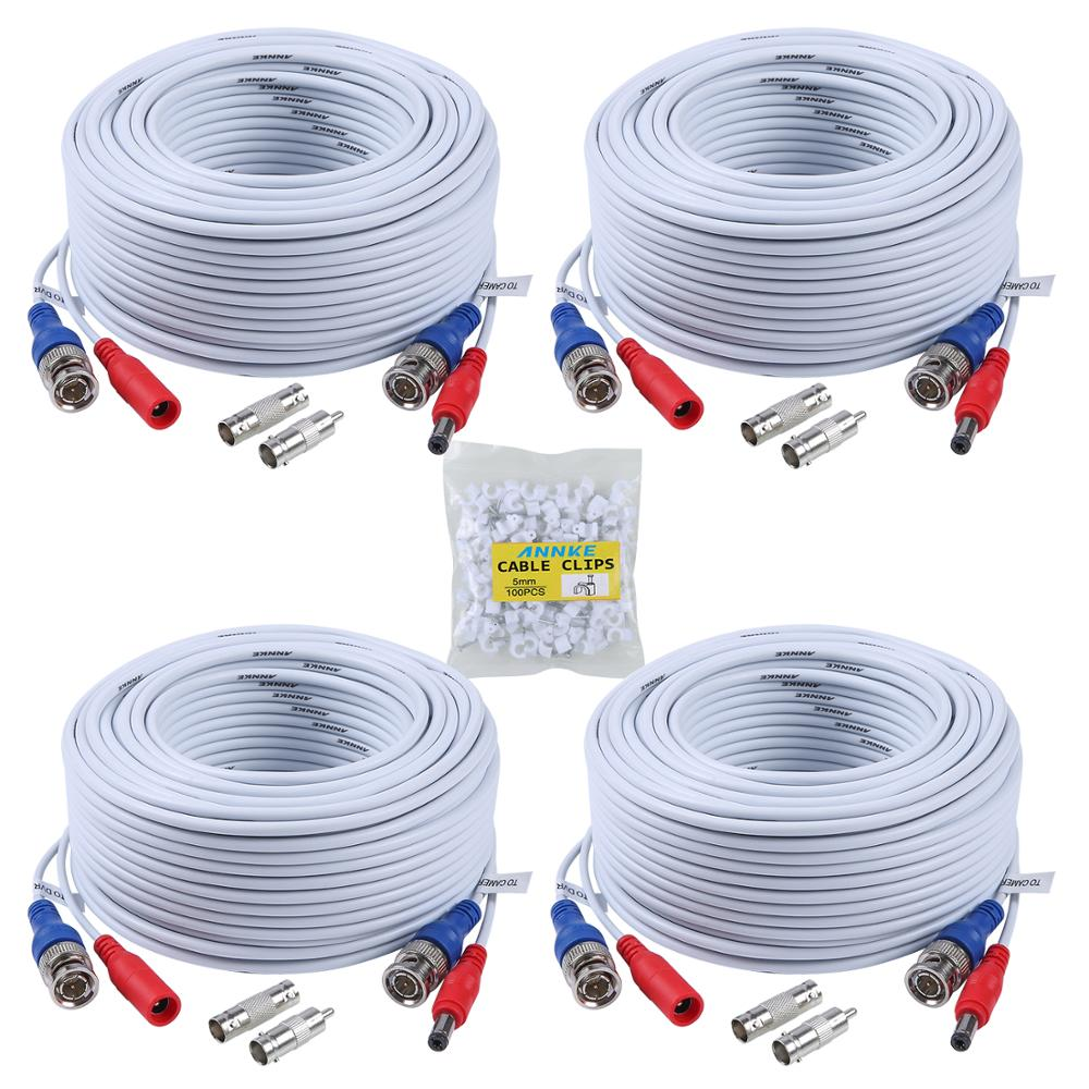 4x 100ft Security Camera Cable DVR CCTV Surveillance BNC Video Power Wire Cord