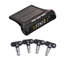Solar Wireless TPMS Car Tire Pressure Monitoring Digital LCD Display Auto Security Alarm Systems + 4 External Sensors(China)