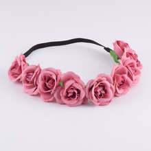 CXADDITIONS Snowflake Rose Flower Crown Wreath Headband Headwrap Bridesmaid Elastic Floral Crown Girl Women Wedding Hairband(China)