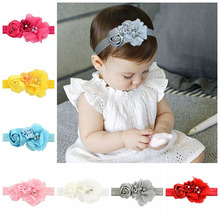 12pcs/lot Baby Headband Chic Flower Ribbon Rose Flowers With Pearl Elastic Hairbands Headwear Girl Children Hair Accessories 609